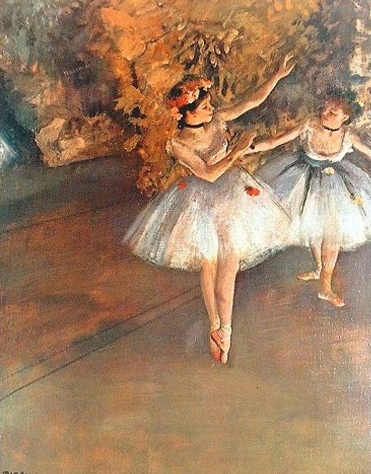 Dos bailarinas en el escenario by Degas