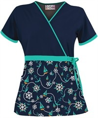 UA Sail Away Navy Mock Wrap Scrub Top