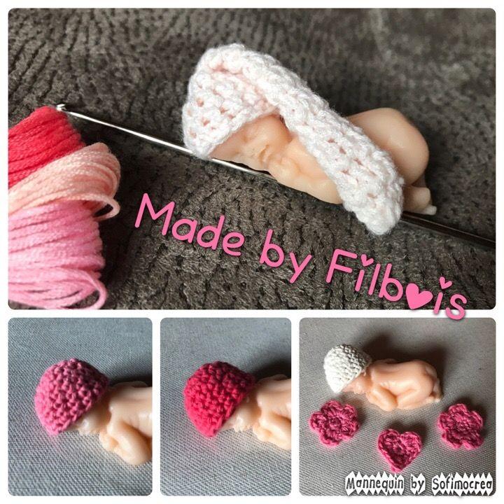 Bonnet miniature pour bébé fimo, scrapbooking, vitrine miniature via Filbois. Click on the image to see more!