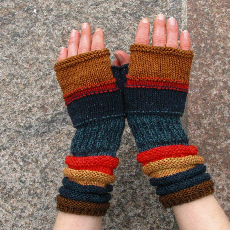Red - Blue Fingerless Gloves For Summer! From American Indian flowers. Hand Knit Striped Mittens with upcycled linen, cotton and viscose. by dwarfs on Etsy