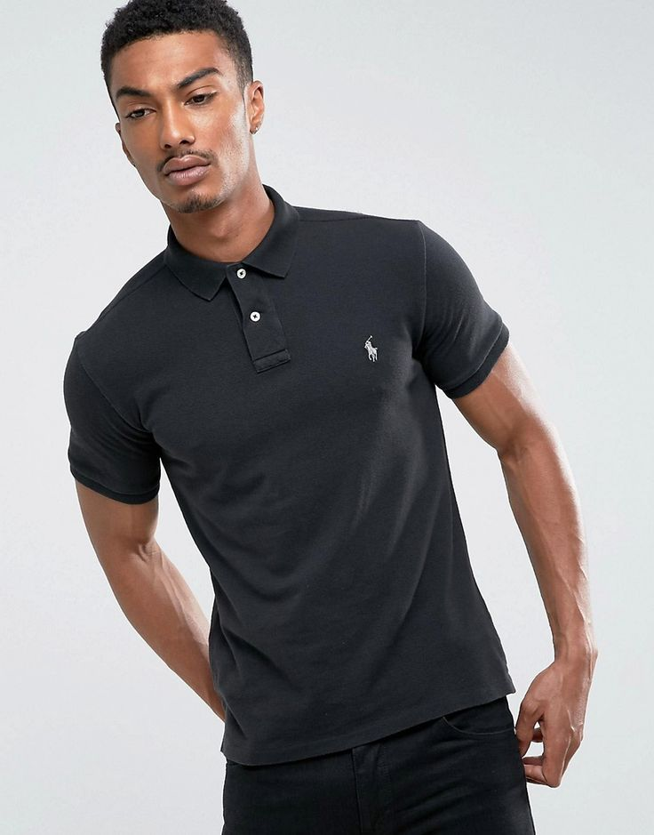 Get this Polo Ralph Lauren's polo shirt now! Click for more details. Worldwide shipping. Polo Ralph Lauren Pique Polo Slim Fit in Black - Black: Polo shirt by Polo Ralph Lauren, Durable cotton mesh pique, Ribbed collar and cuffs, Embroidered polo player, Button placket, Uneven vented hem, Slim fit - cut close to the body, 100% Cotton, Our model wears a size Medium and is 6'1.5�/187 cm tall. Naming his brand after a game that embodies classic style, Ralph Lauren created Polo Ralph Lauren in…