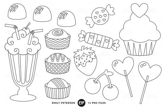 Valentine S Day Digital Stamps Candy Line Art Cupcakes Clip Art Commercial Use Instant Download Digital Stamps Line Art Images Marker Art