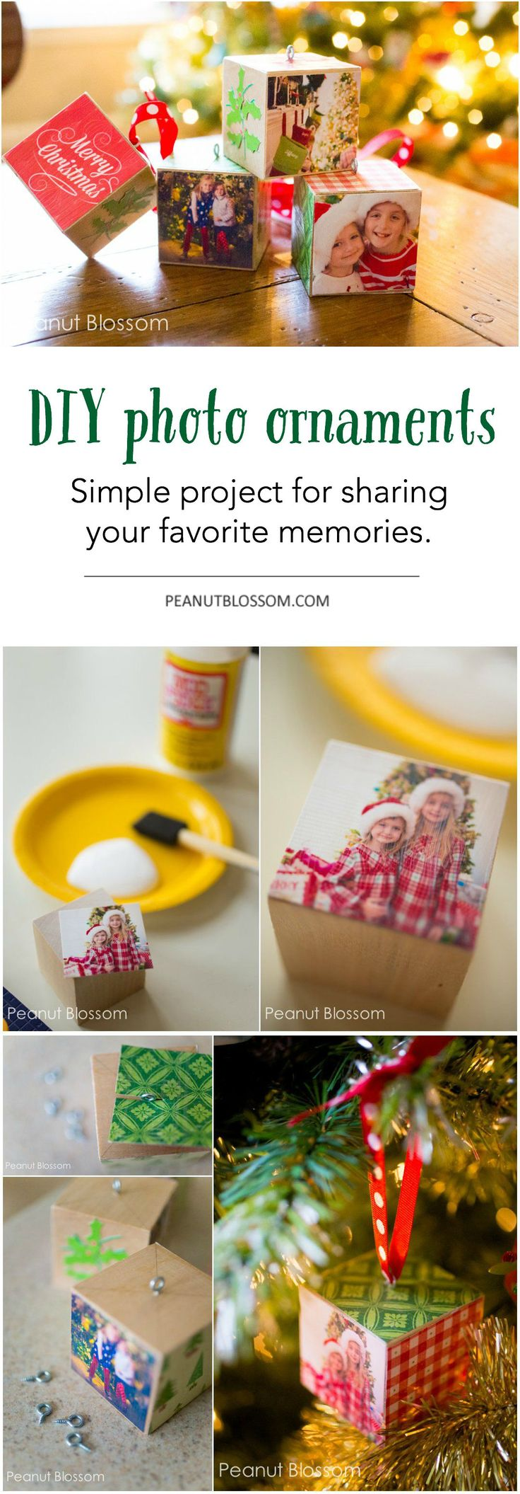 DIY photo ornaments craft for Christmas. This adorable holiday project is easy to make on your own or with the kids and is a huge hit with grandparents. I want a set for MY tree!!