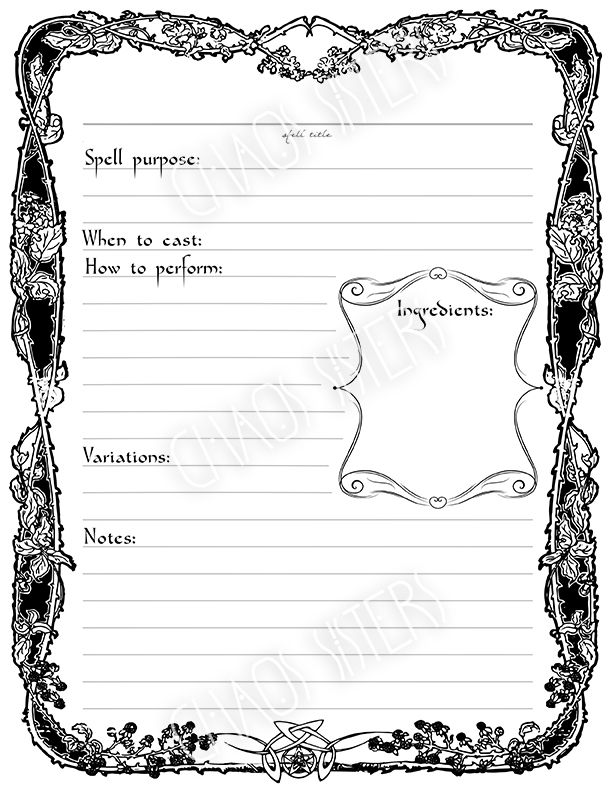 Witchcraft Spells Template Printable Diy Wicca Magic Book Of Shadows Spell Book Witch Books
