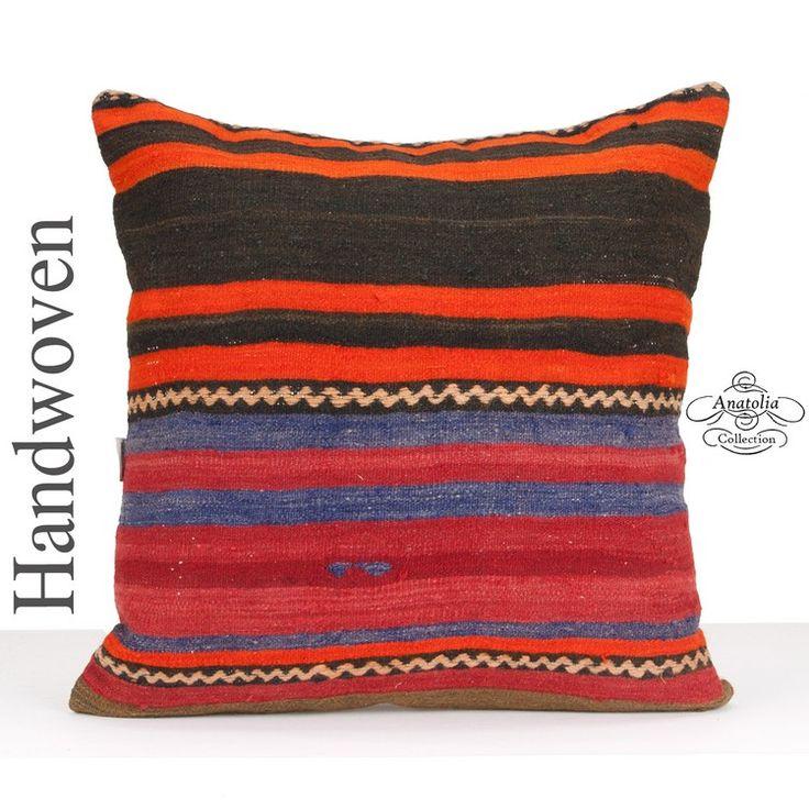 Striped Large Kilim Cushion Cover 24x24 Inch Square Hand Woven Floor Throw Pillow Interior Outdoor Decoration Retro Tribal Turkish Handmade Pillowcase