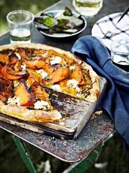 Pumpkin, goat's curd and thyme tart.