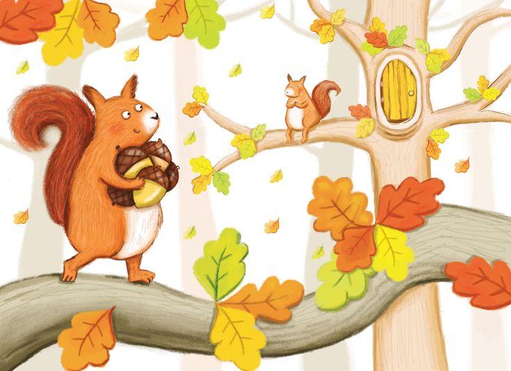 kate daubney, squirrel, nuts, autumn, leaves, trees. kids illustration