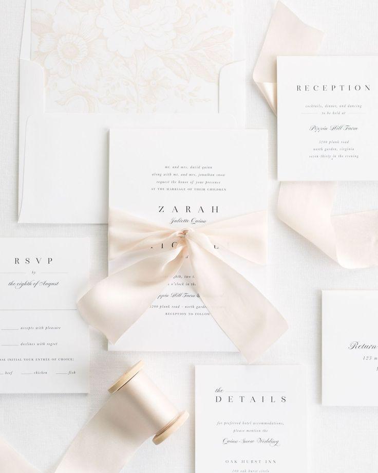 Complete Wedding Invitation Kits: Zarah Ribbon Wedding Invitations