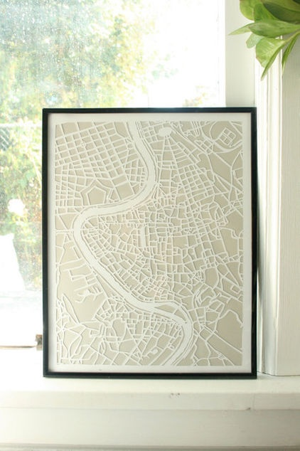 Hand cut paper map of Rome by Vellum and Trace $68