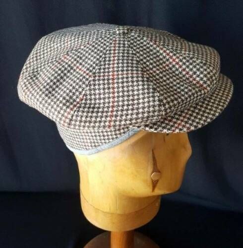 bab6eb19f Details about STRAND Cap Vtg 1930s Floppy Hounds Tooth Tweed Newsboy ...
