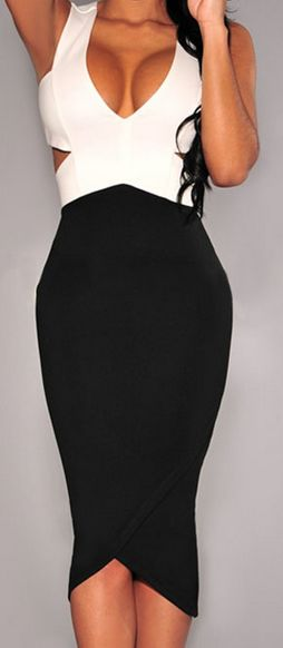 Ladies Black and White Sexy Club Dress, Bodycon Dress