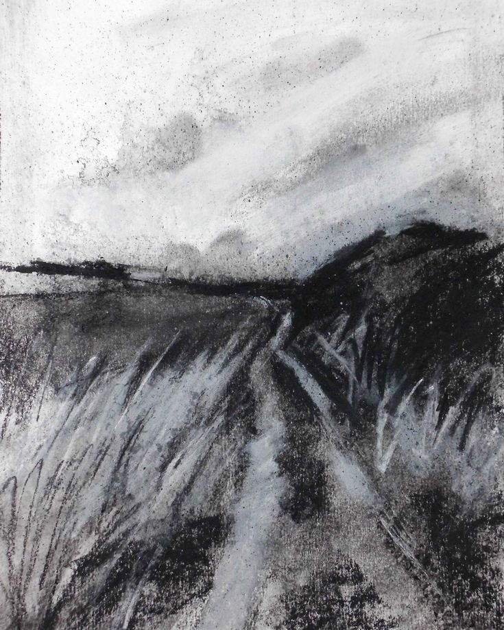"""Contemporary landscape drawing. Charcoal on Paper, 8"""" x 10"""", 2015.  For more examples please visit davidbrownpainter.co.uk.  All work for sale"""