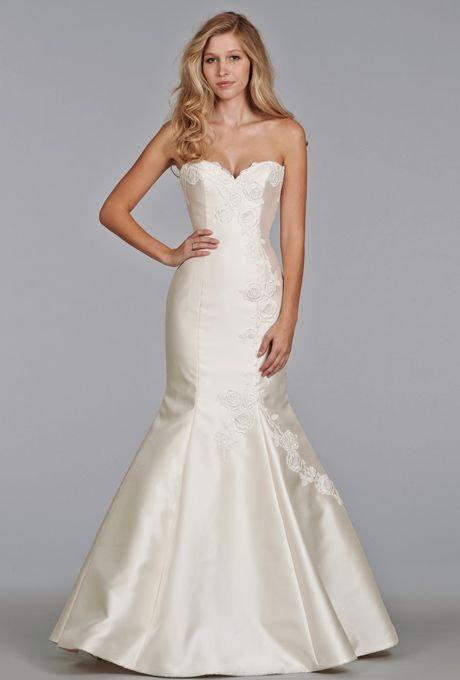 Brides: Tara Keely. Ivory Mikado fit and flare gown, sweetheart neckline with Venise lace accent, chapel train.