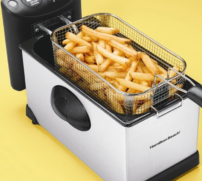 Hamilton Beach Stainless Steel 12-Cup Deep FryerFry crispy, mouth-watering foods without the mess you've come to expect from traditional deep fryers! Food can be lowered into hot oil and lifted out while the lid is closed for splatter-free frying. Large 12-cup capacity Immersed heating element makes direct contact with oil for ultra-fast heating Easy to assemble Adjustable heat Digital timer Breakaway cord Power on and preheat lights Basket is dishwasher safe.  Price: $49.29