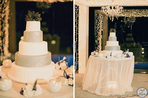 Silver Wedding Cake | Santorini Wedding by Stella and Moscha - Weddings in Greece | Photo by Anna Roussos | http://www.stellaandmoscha.com/wedding-photos/private-villa-wedding/