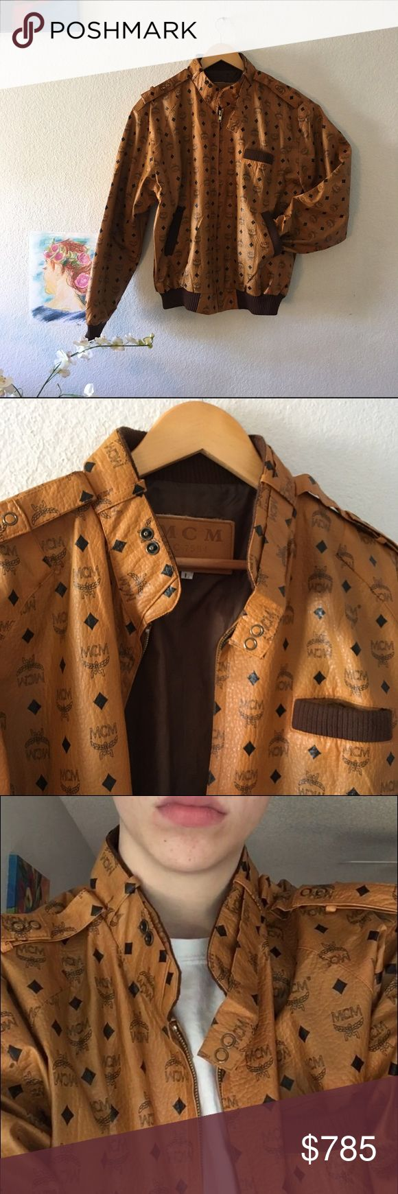 Vintage mcm jacket Vintage mcm cognac leather jacket. Monogram faux leather racer jacket size large. Previous owners took amazing care of it. Has no scent, and only worn once for a picture. MCM Jackets & Coats