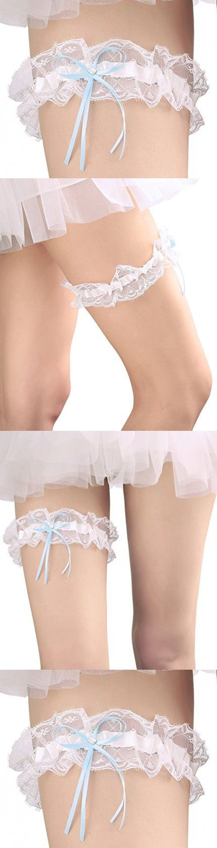 MeryaDress Lace Wedding Garter for Bride Stretch Crystal Prom Garter with Crystal Bow Detail Blue-Ivory