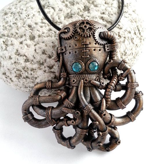 Steampunk Octopus Pendant. Steampunk Octopus necklace. Steampunk Jewelery. Victorian Style. Industrial. Dieselpunk. Polymer clay jewelry