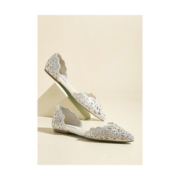 Luxe Divine Dining Flat ($99) ❤ liked on Polyvore featuring shoes, flats, ballet flat, flat, white, white shoes, ballet flat shoes, ballerina flat shoes, sparkly flats and rhinestone flats