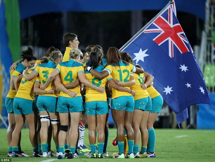 Australia's women's rugby sevens team pump themselves up before the gold medal…