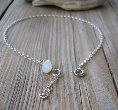 Handmade 925 Sterling Silver Moonstone Anklet | pavlos - Jewelry on ArtFire