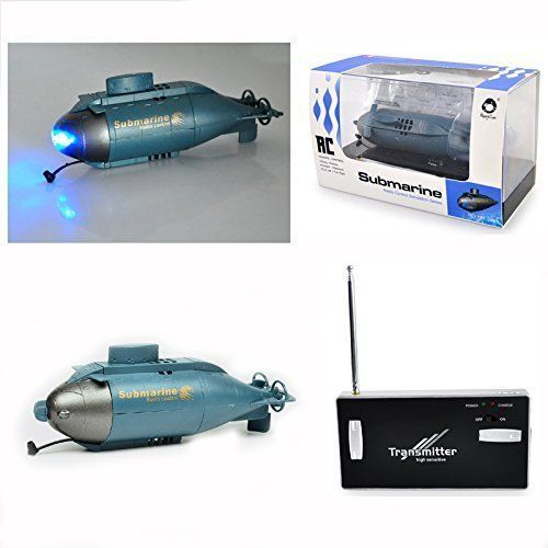 Remote Control Miniature Wireless Bomb Submarine W/ Two Blue Headlights New