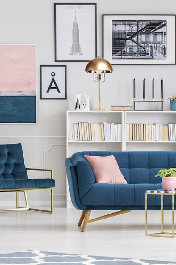 Finish off your midcentury living room look with a Modern Brass