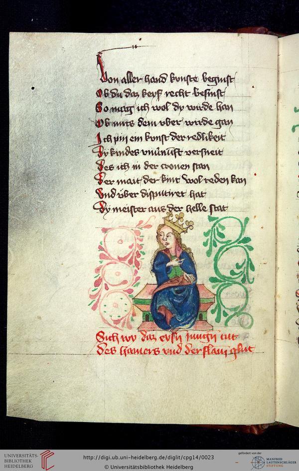 Cod. Pal. germ. 14: Heinrich von Mügeln: Der Meide Kranz (Bayern, 1407), Fol 8v