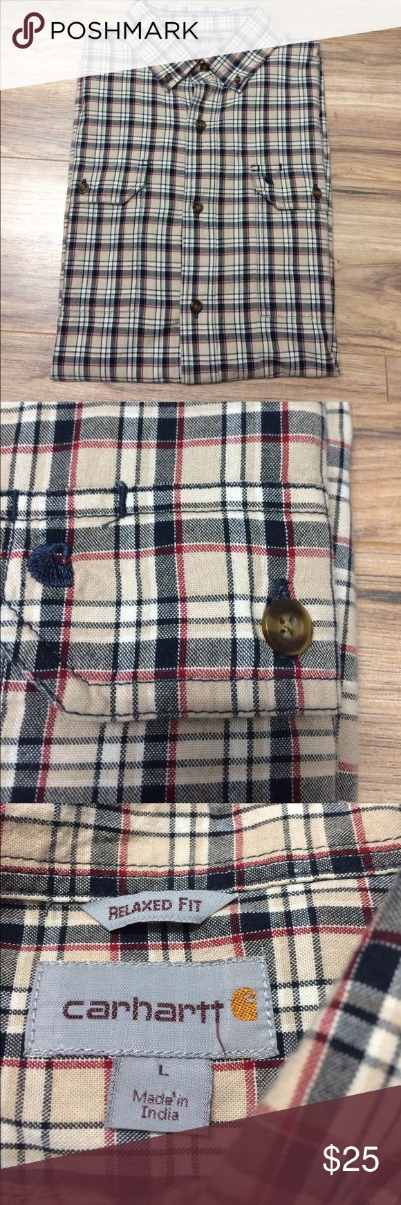 "Carhartt Button Down Plaid Shirt Large Short Slv Nice pre-owned condition! Double front pockets with button closure.  Relaxed fit. Pit to pit 24"". Length(mid shoulder to bottom hem) 32"". 100% Cotton Carhartt Shirts Casual Button Down Shirts"