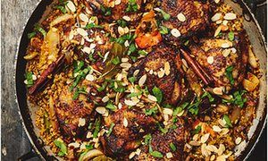 Yotam Ottolenghi's chicken with dates, saffron and freekeh.
