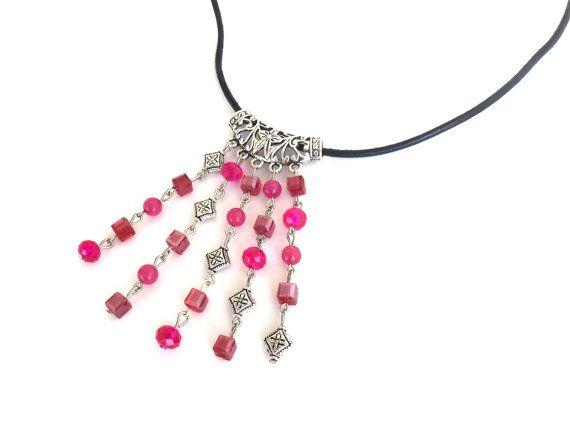Fuchsia cascade necklace fuchsia quartzite and crystal