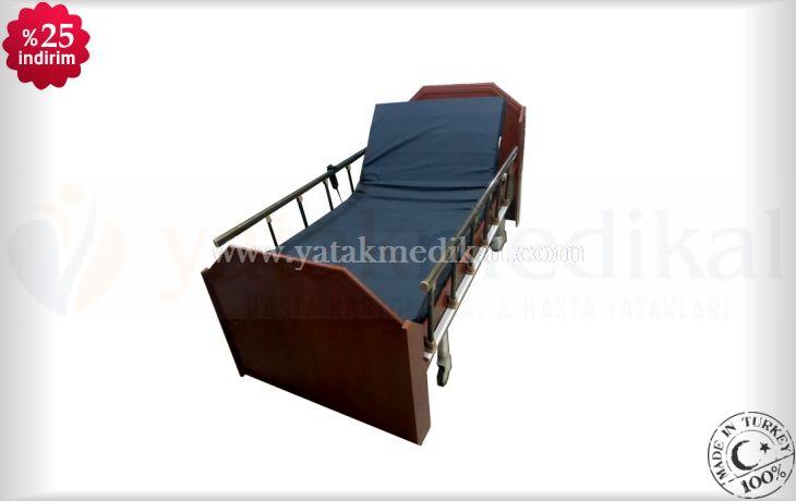 Ahşap Ev Tipi 2 Motorlu Hasta Yatağı