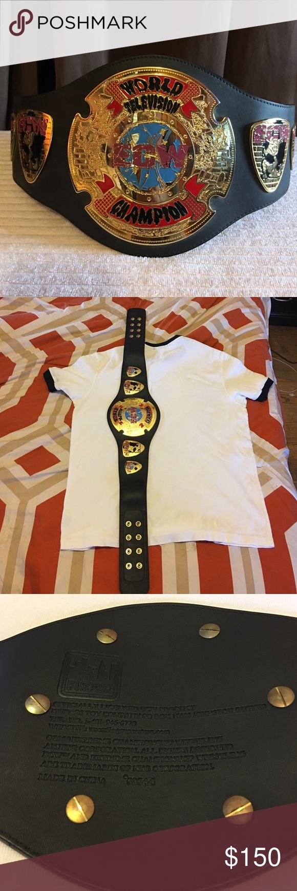 "❗️RARE ❗️ ECW Television Championship display belt SUPER RARE❗️ECW TELEVISION CHAMPION display replica wrestling belt. Made by Figures Inc. 4mm gold plated metal plates attached to heavy strap. THIS IS NO TOY BELT.  This is a child sized replica that will fit a 32"" waist. This belt was made PRE- WWE which makes it VERY RARE Accessories Belts"