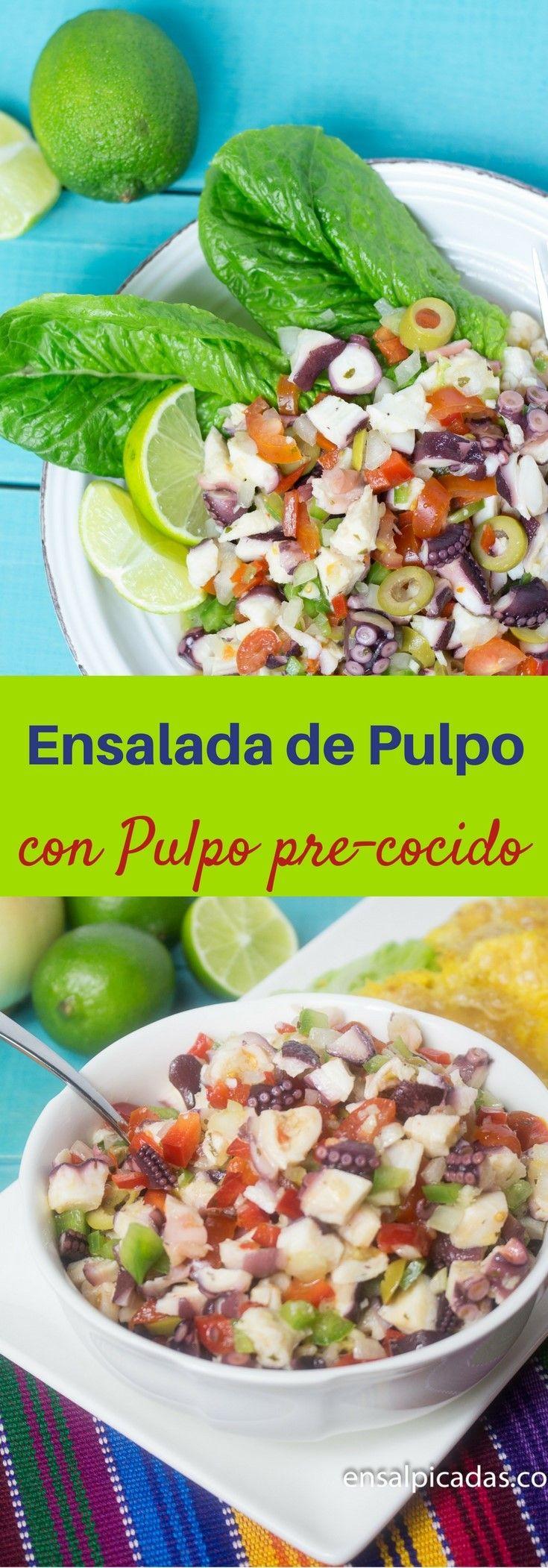 Esta Ensalada de Pulpo utiliza pulpo pre-cocido para que no tengas que pasar trabajo. Te doy mi recomendación de cuál marca utilizar. Es sabrosa. Receta de Ensalada de Pulpo de Puerto Rico.