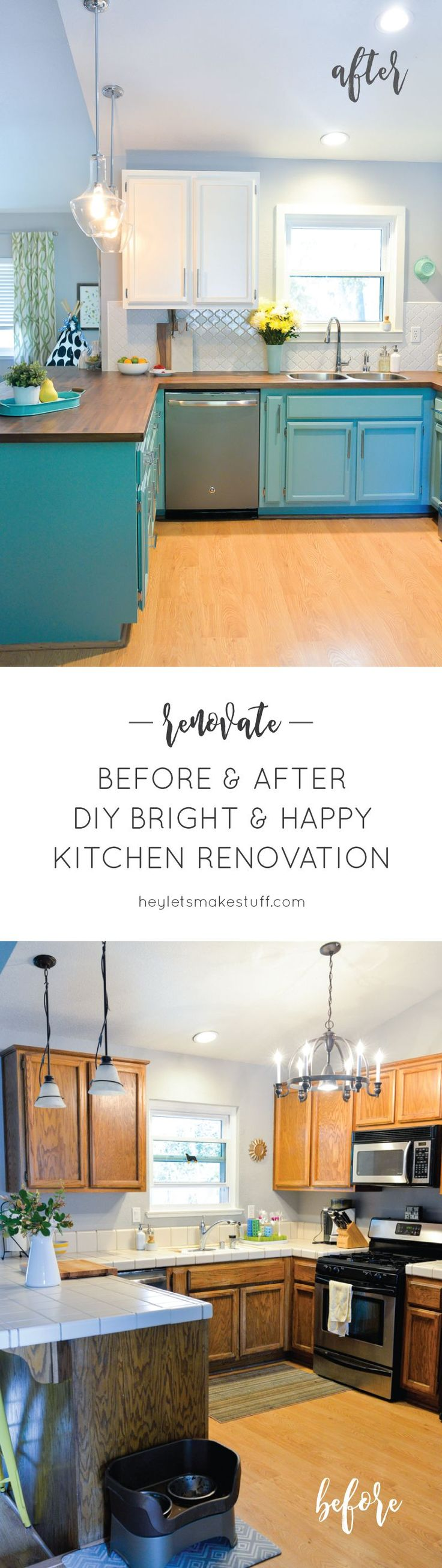 We totally transformed our dated 1980's kitchen with bright painted cabinets…