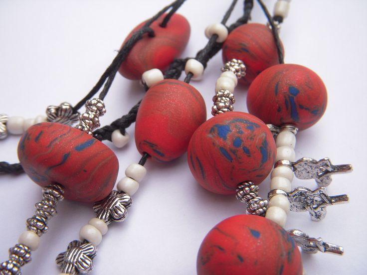 Porte clés ou bijoux de sac orange et bleu en fimo : Porte clés par creastelle