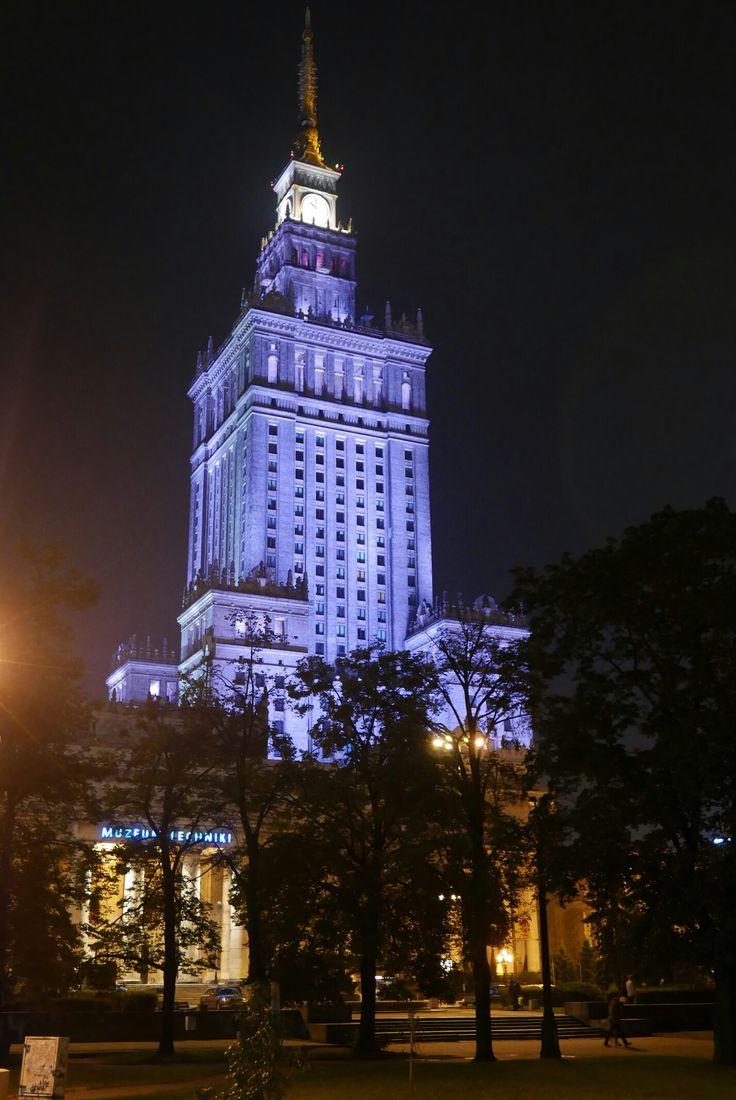 Pałac Kultury nocą, Warsaw Poland - August 2017