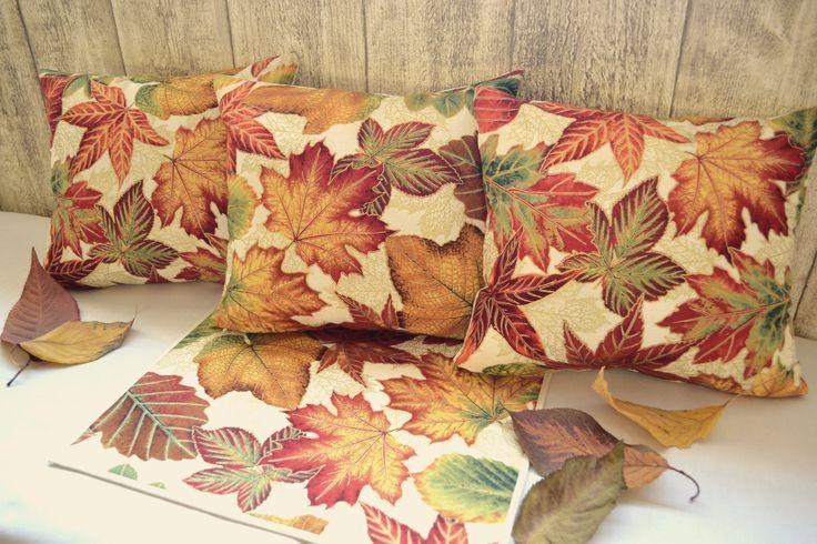 polštářky a prostírání s podzimním designem