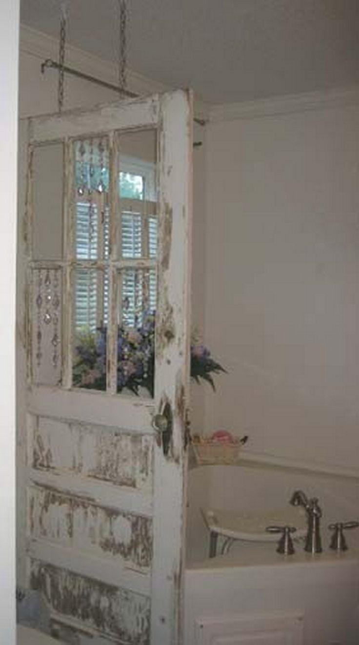 110+ Adorable Shabby Chic Bathroom Decorating Ideas – Rolltüren/Alte Türen und Tore
