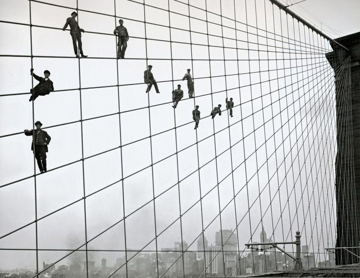 painters on the cables of the brooklyn bridge, 1914 photo | one big photo