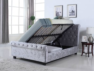 The Flintshire Furniture Whitford side ottoman bed frame in a silver crushed velvet fabric features, a lift up side opening base for the mattress offering easy access to the large under bed storage space.