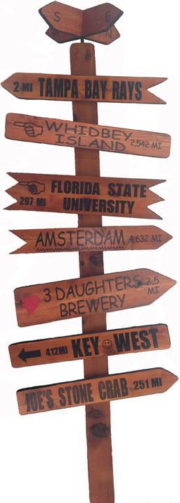 Our Rustic Style Mile Markers are made from cypress wood, then stained and varnished, giving each mile marker its own unique grainy textured look. Each mile marker sign on these Rustic Styles are diff
