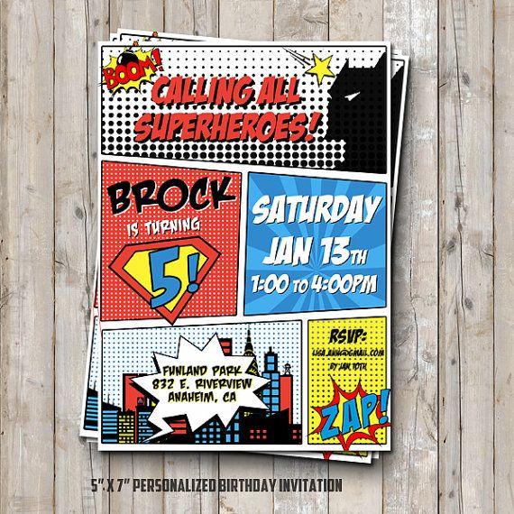 Superhero birthday invitation personalized for your party - superheroes comic digital / printable DIY superhero invitation