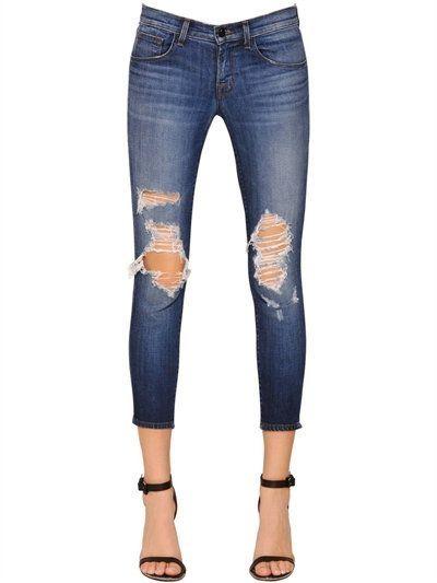 Low Rise Skinny Crop Cotton Denim Jeans J Brand  #women   #fashion  Source:  www.closetonthego...  © Closet On The Go
