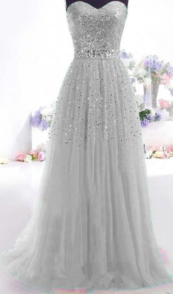 Gray Long Prom Dress Paillette Tulle Party Ball Formal Gowns SIZE2.4 6 8 10+++++ | Clothing, Shoes & Accessories, Women's Clothing, Dresses | eBay!