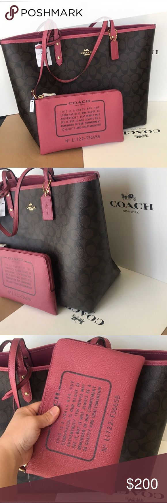 NWT Coach Tote Reversible Pink Leather City * 100% authentic Coach Tote. Completely reversible Color is Rouge which is a beautiful shade of pink Comes with detachable wristlet Brand new with tags attached Gift boxs is available for FREE just pay the extra shipping.  🅿️🅿️ price is $170 with free shipping Coach Bags Totes