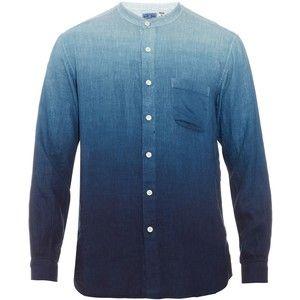 Blue Blue Japan Granddad-collar ombré linen shirt