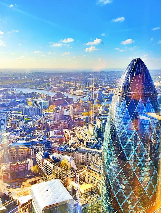 Breakfast at the Heron Tower with a view of the Gherkin and the Tower of London in the distance. Tips for Planning a London Vacation. www.kevinandamanda.com. #travel #london #england