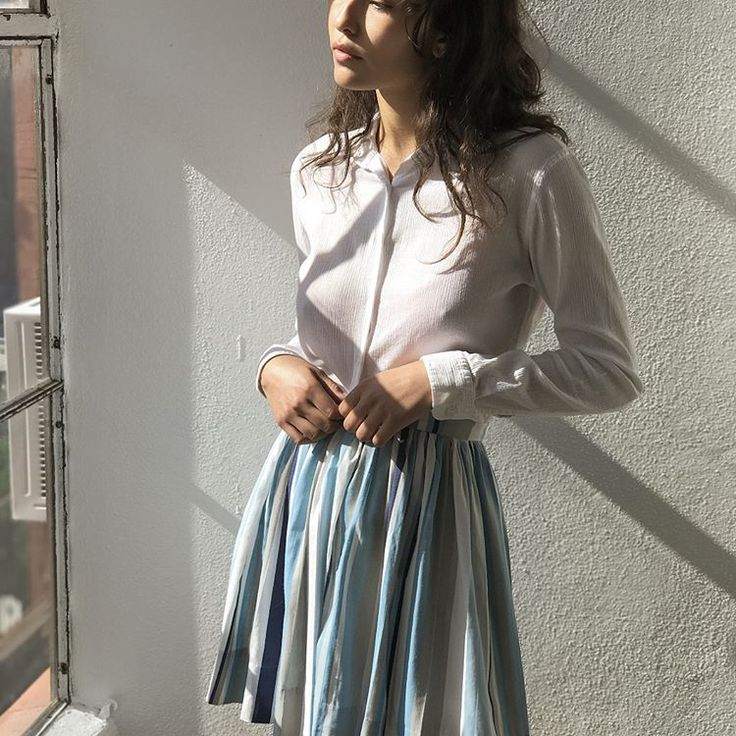 """1960's ruched stripe skirt and 1990's Classic cotton button down. Skirt is waist 26"""" and $48 + shipping. Top is Sz Sm and $22 + shipping. First to comment with postal code for purchase. SOLD 🌿"""