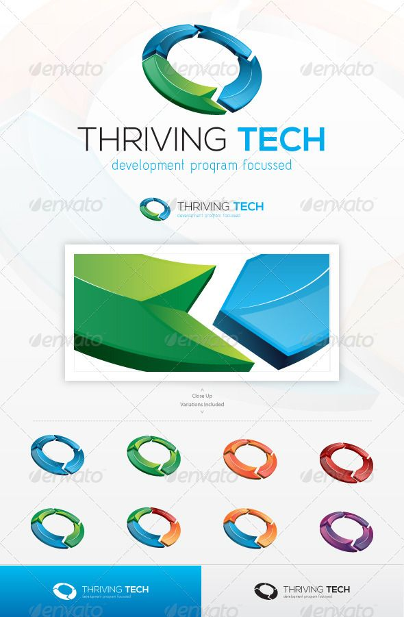Thriving Tech #GraphicRiver An excellent logo template suitable for any business that promotes renewal or development, through technology, or high tech services, mainly sustained by progress and futuristic vision to attain their company goals. This file is easy to edit with highly organized layers, and contains: Resisable Vector logo; Vector Horizontal and Vertical display; Symbol's high resolution files, ready to use; Symbol's Color Variations as shown in the preview; Vector Greyscale versi...